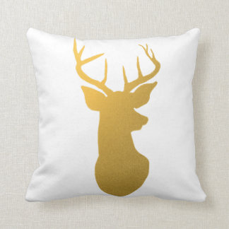 Modern Gold Reindeer Holiday Throw Pillow