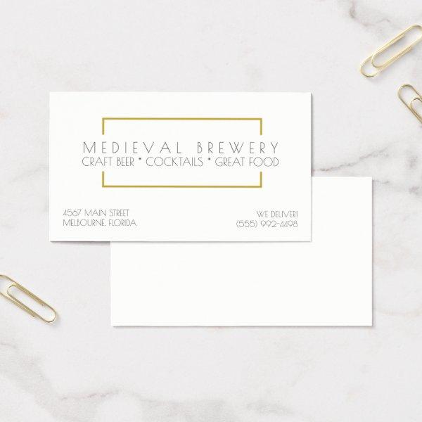 Modern Gold Restaurant and Bar Business Business Card