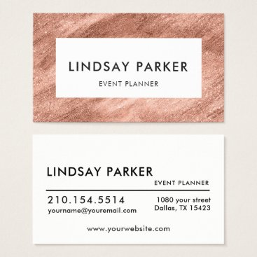 Professional Business Modern Gold Rose Event Planner Business Card