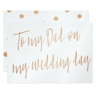 """Modern Gold Rose """"To my Dad on my wedding day"""" Card"""