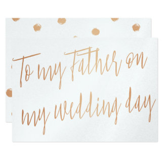 """Modern Gold Rose """"To my father on my wedding day"""" Card"""