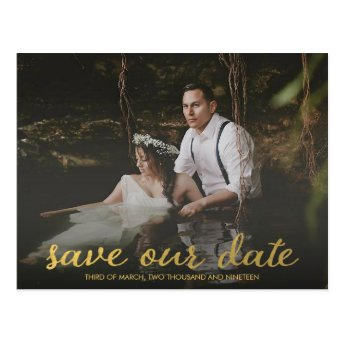 Modern Gold Save OUR Date Photo Postcard
