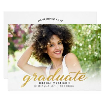 Modern Gold Script 2017 Graduation Announcement by CardHunter at Zazzle
