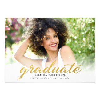 Modern Gold Script 2017 Graduation Announcement