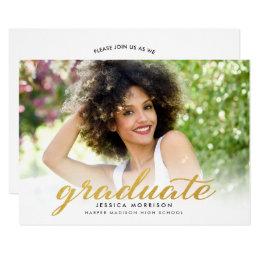 gold graduation invitations announcements zazzle