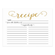 Modern Gold Script Bridal Shower Recipe Cards