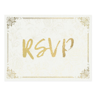 Modern Gold Script Floral Frame Wedding RSVP Reply Postcard