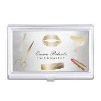 Modern Gold & Silver Beauty Salon Cosmetics Business Card Case