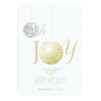 Modern Gold Silver Business Holiday Card