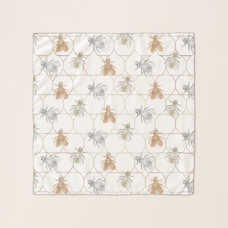 Modern Gold Silver Copper Metal Bees Scarf