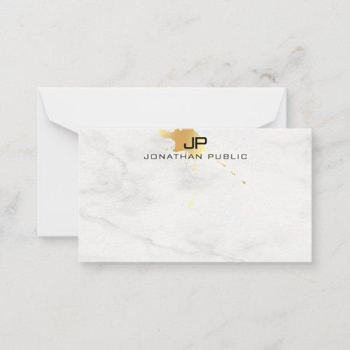 Modern Gold Splash White Marble Monogram Template