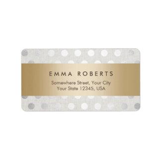 Modern Gold Striped Silver Polka Dots Classy Linen Label