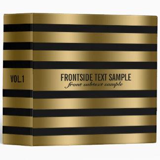 Modern Gold Stripes Black Background Binder