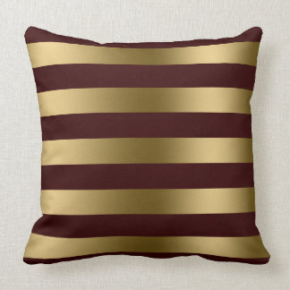 modern gold stripes burgundy red background throw pillow