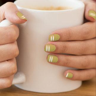 Modern Gold Stripes Fall Leaf Brown Minx® Nail Wraps