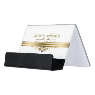 Modern Gold Stripes Floral Accents Desk Business Card Holder