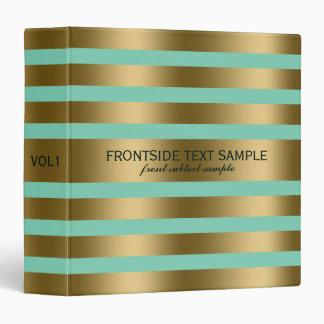 Modern Gold Stripes Mint-Green Background 3 Ring Binder