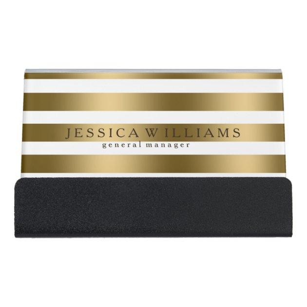 Modern Gold Stripes Over White Desk Business Card Holder