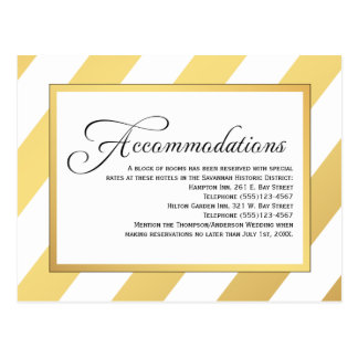 Modern Gold Stripes Wedding Accommodations Postcard