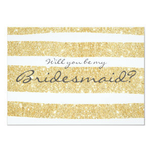Modern gold stripes Will you be my bridesmaid 5x7 Paper Invitation Card