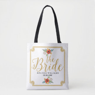 Modern Gold Text-The Bride & Frame & Floral Accent Tote Bag