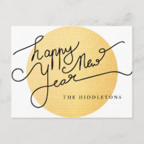 Modern Gold Texture Pattern Happy New Year Script Holiday Postcard
