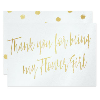 """Modern Gold """"Thank you for being my Flower Girl"""" Card"""