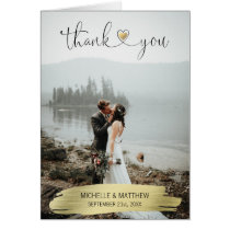 Modern Gold THANK YOU wedding note card | PHOTO