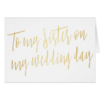 "Modern Gold ""To my sister on my wedding day"" Card"