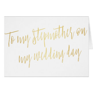 "Modern Gold ""To my stepmother on my wedding day"" Card"