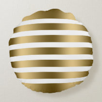 Modern Gold Tones Stripes Pattern Round Pillow