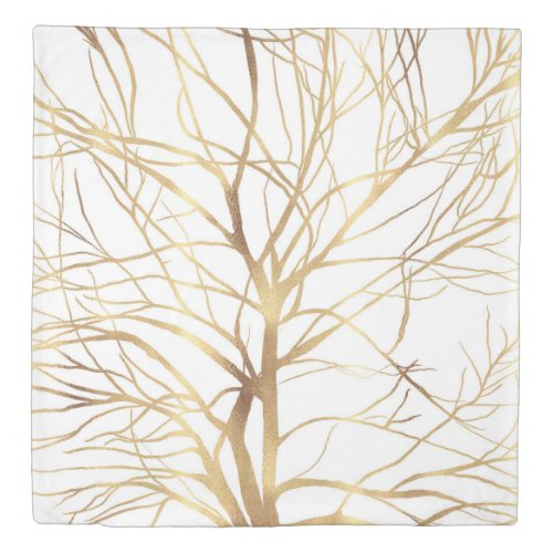 Modern Gold Tree Silhouette Minimal White Design Duvet Cover
