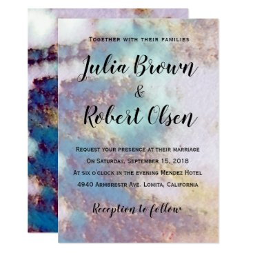 Bride Themed Modern Gold & Turquoise Marble Wedding Invitation