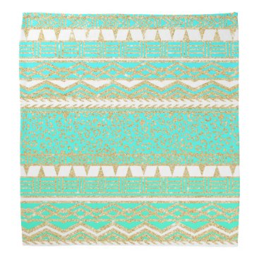 Aztec Themed Modern gold turquoise teal ombre aztec pattern bandana