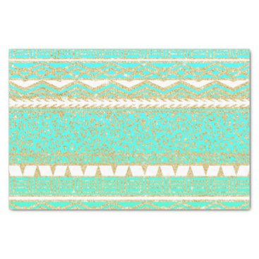 Aztec Themed Modern gold turquoise teal ombre aztec pattern tissue paper