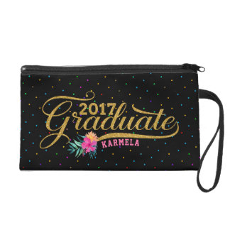 Modern Gold Typography Graduate Colorful Dots Wristlet