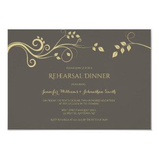 Modern gold vines rehearsal dinner invitations