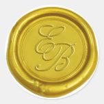 Modern Gold Wax Monogram Elegant Wedding Classic Round Sticker at Zazzle