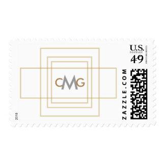 Modern Gold Wedding Custom Monogrammed Stamp