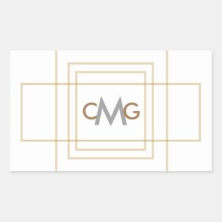 Modern Gold Wedding Favor Custom Monogram Sticker