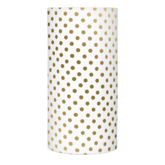 Modern Gold & White Dots Pattern Flameless Candle