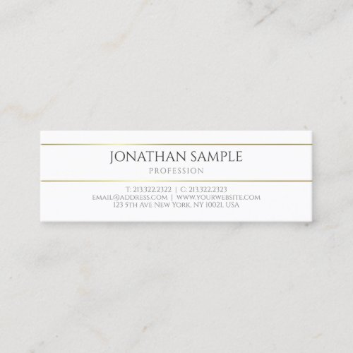 Modern Gold White Elegant Professional Template Mini Business Card