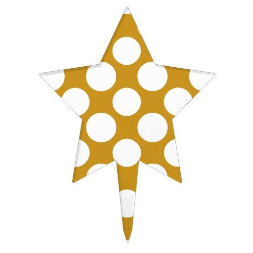 Modern Gold White Polka Dots Pattern Cake Topper