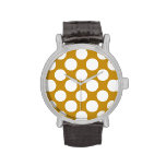Modern Gold White Polka Dots Pattern Wrist Watches