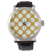 Modern Gold White Polka Dots Pattern Wristwatch