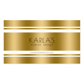 Modern Gold & White Stripes Business Card