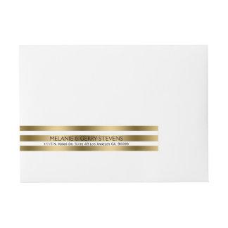 Modern Gold & White Stripes Wedding Label