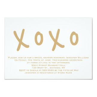 Modern gold xoxo bridal shower invitations