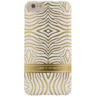 Modern Gold Zebra Stripes 2 White Background Barely There iPhone 6 Plus Case