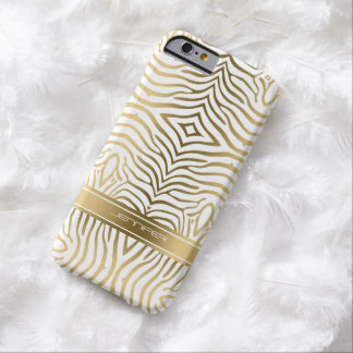Modern Gold Zebra Stripes 2 White Background Barely There iPhone 6 Case